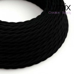Câble textile torsadé 2 x 0,75 mm2 Noir coton