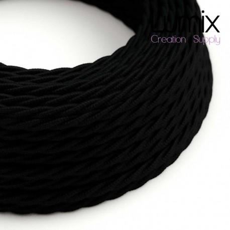 Câble textile torsadé 2 x 0,75 mm2 Noir effet soie