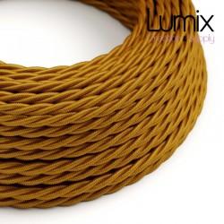 Câble textile torsadé 2 x 0,75 mm2 Or effet soie