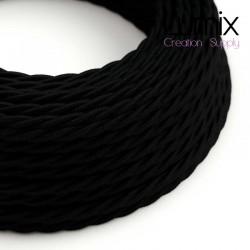 Câble textile 2 x 0,75 mm2 Noir effet soie