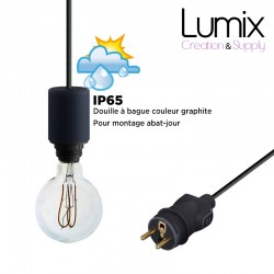 Hanging lamp for outdoor use - From 3 to 10 meters of IP65 textile cable - 3 colors of ring sockets