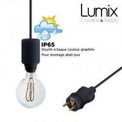 Lampe baladeuse à suspendre utilisable à l'extérieur - De 3 à 10 mètres de câble textile IP65 - 3 couleurs de douilles à bagues
