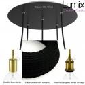 COMMANDE PRIVÉE - 1 Suspension rosace XXL 5 lampes porte-douille lisse et à bagues dorées + ampoules