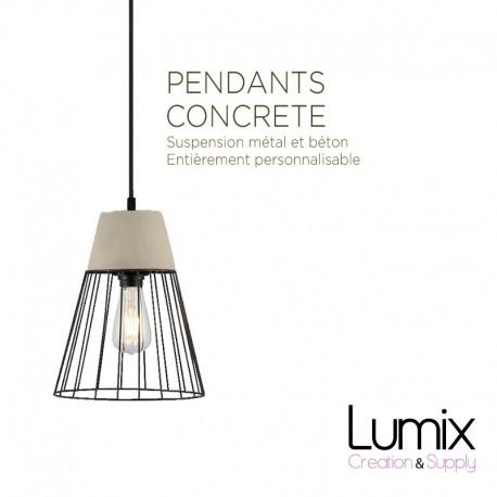 Suspension abat-jour cage métal et béton - Luminaire personnalisable