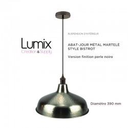 Suspension abat-jour métal martelé style Bistrot métal - modèle couleur métal