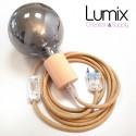 Lampe baladeuse à suspendre câble rond en jute et douille bois