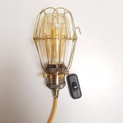 PRIVÉE : lampe baladeuse cage US cuivré et douille bronze - 2 m câble textile doré