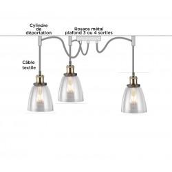 SUSPENSION 3 LAMPES PENDANT GLASS