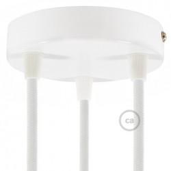Privée - Suspension multiple 3 lampes +1 suspension simple porcelaine