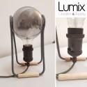 Lampe à poser Alesio - Ampoule globe G125 Smoky 220 Volts-E27