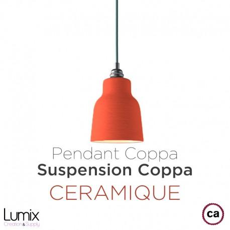 Suspension COPPA forme cloche en céramique Bleu de Cobalt fait main