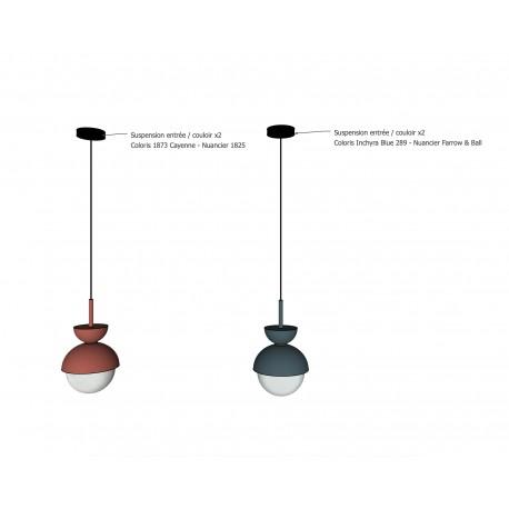 PRIVÉE PRO : 4 Suspensions sur-mesure complète avec ampoule LED porcelaine