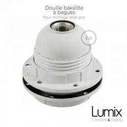 PRIVÉE-PRO- 1 Douille volante E14 bakélite peinte en blanc - cable torsadé blanc