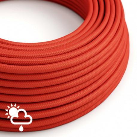 PRIVÉE - 1 câble textile rouge IP65 3G1 + 1 guirlande 15 m avec 8 douilles et 8 ampoules A60 et accessoires