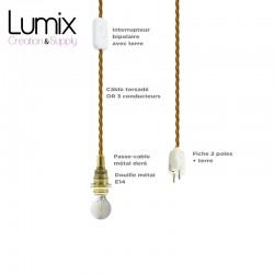 COMMANDE PRIVÉE : 5 Lampes baladeuse prestige E14 câble textile torsadé