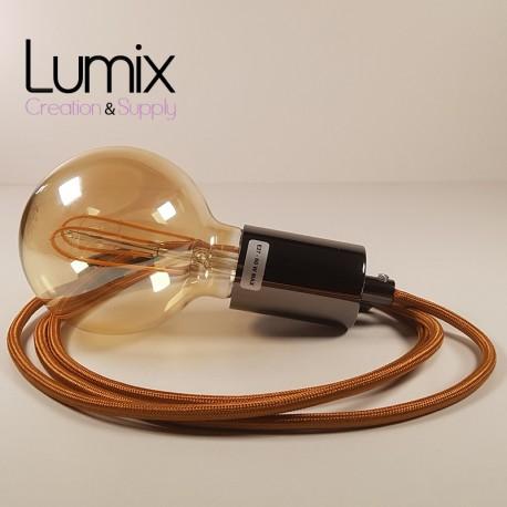 Hanging lamp type smooth metal socket holder Tahitian black pearl - Yellow textile cable.