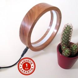Lampe RING en bois massif de Cerisier - Modèle avec diffuseur