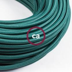 Zoom sur câble textile 2 x 0,75 mm2 Vert foncé effet soie