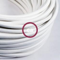 Zoom sur câble textile 2 x 0,75 mm2 Blanc effet soie