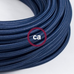 Câble textile 2 x 0,75 mm2 Bleu marine effet soie