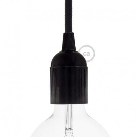 Douille E27 lisse en bakélite noire avec ampoule globe