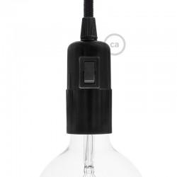 Douille E27 lisse en bakélite noire avec interrupteur incorporé
