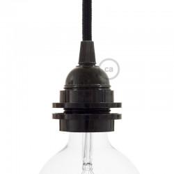 Douille E27 à bagues en bakélite noire vue avec globe led
