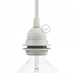 Douille E27 à bagues en bakélite blanche et ampoule led