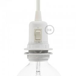 Douille E27 à bagues en bakélite blanche avec interrupteur incorporé