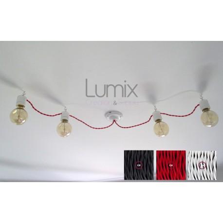 Guirlande porcelaine en suspension câble textile torsadé style vintage