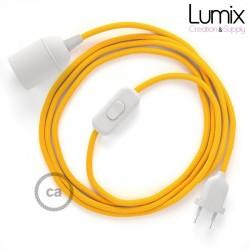 Lampe baladeuse câble textile souple Jaune effet soie
