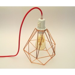 XXL copper steel cage portable lamp to stand or hang with diamond-shaped steel cage lampshade