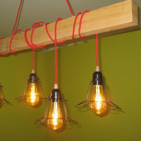 Poutre lumineuse bois de frêne vert massif 4 lampes douilles bakélite noires 220V - environ 100 cm de long
